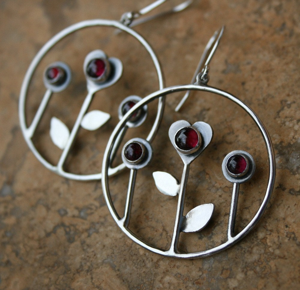 Love Grows Sterling Silver Garnet Hoops