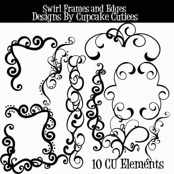 Swirl Frames Borders and Edges Digital Clip art From cupcakecutiees
