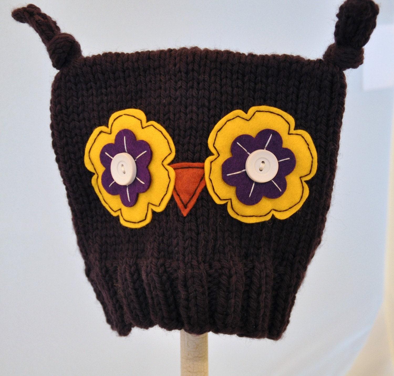 Ollie Owl Hat - Infant Sized, Dark Purple