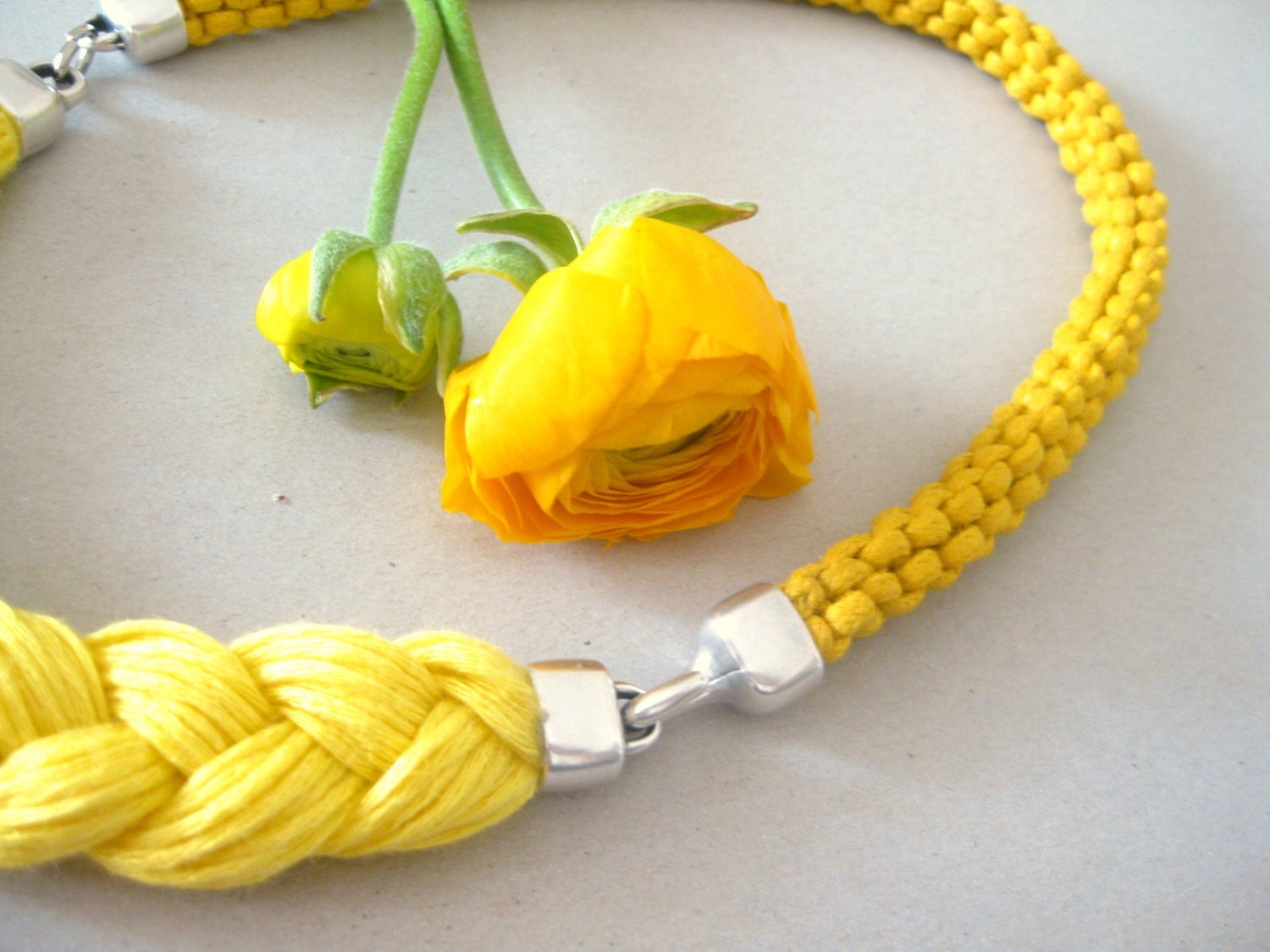 rope necklace - sunny statement necklace in yellow - braided summer necklace - beYOUtifulhandmade