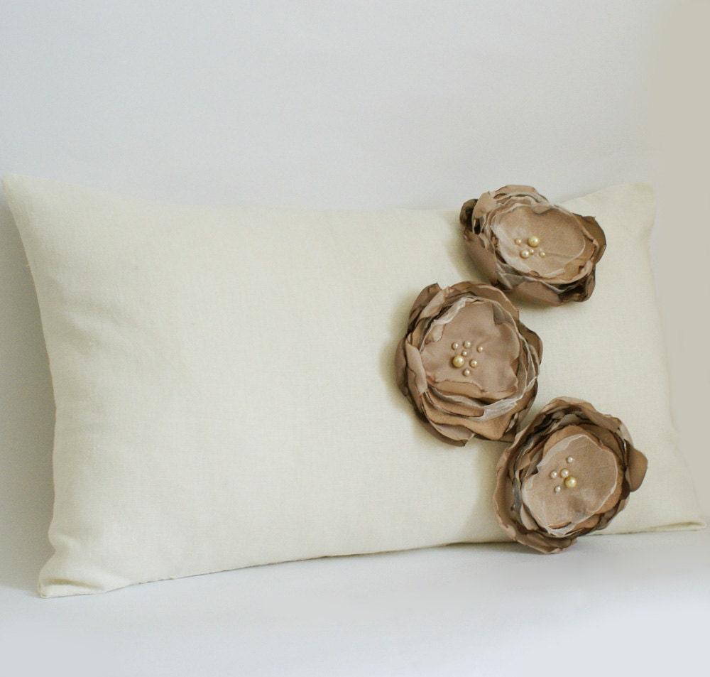 Ткань Цветок Чехол в белье сливки и кофе