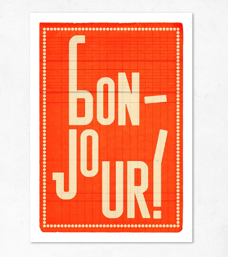Orange Large illustration print 11.70 x 16.50 (A3). Bonjour.  (Special offer: Get a 2013 calendar for free) - edubarba