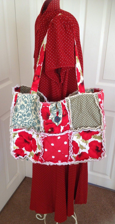 Rag Quilt Handbag Rag Quilt Tote Bag Rag Handbag Rag Tote Handbag Poppy Tote Handbag Poppy Handbag Patchwork Tote Bag