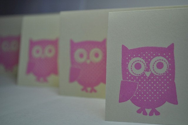 Cute cute Owl-  blank cards( Set of 4)