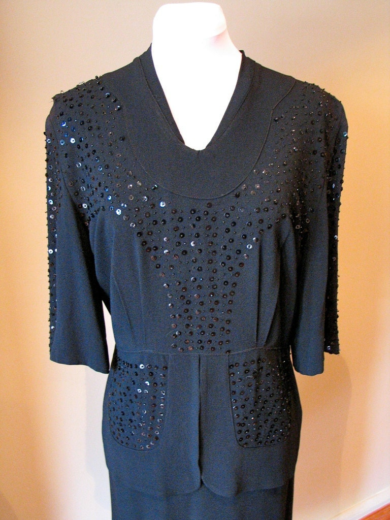 Vintage Early 1940s Black Crepe Beaded Evening Gown - L
