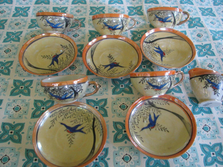 Fun Vintage Children's tea Set with birds - dimestorechic