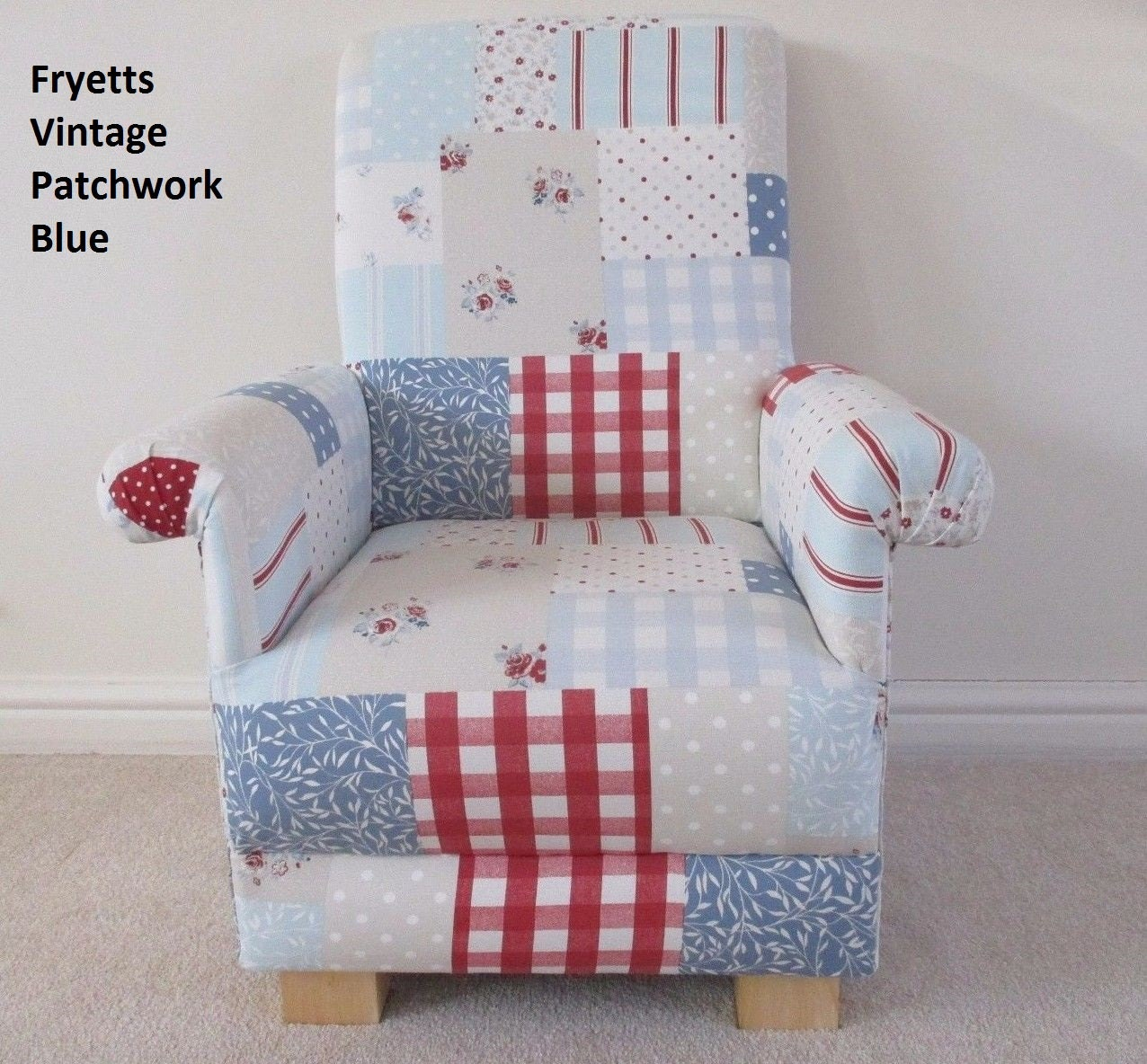 Fryetts Vintage Patchwork Fabric Childs Chair Armchair Shabby Chic Gingham Blue Pink Kids Nursery Bedroom Small