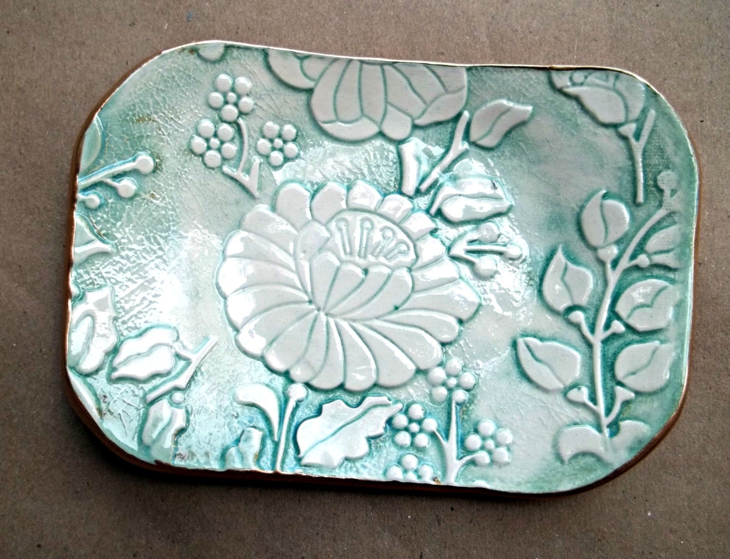 Ceramic Pale Sea Green Damask Trinket Dish