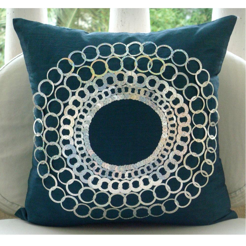 Blue-Medallion-12-034-x12-034-Silk-Pillows-Cover-Teal-N-Silver-Discs
