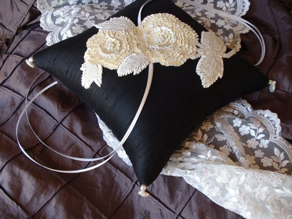 Black Silk with Cream, Ivory and White Beaded Accents Ring Bearer Pillow