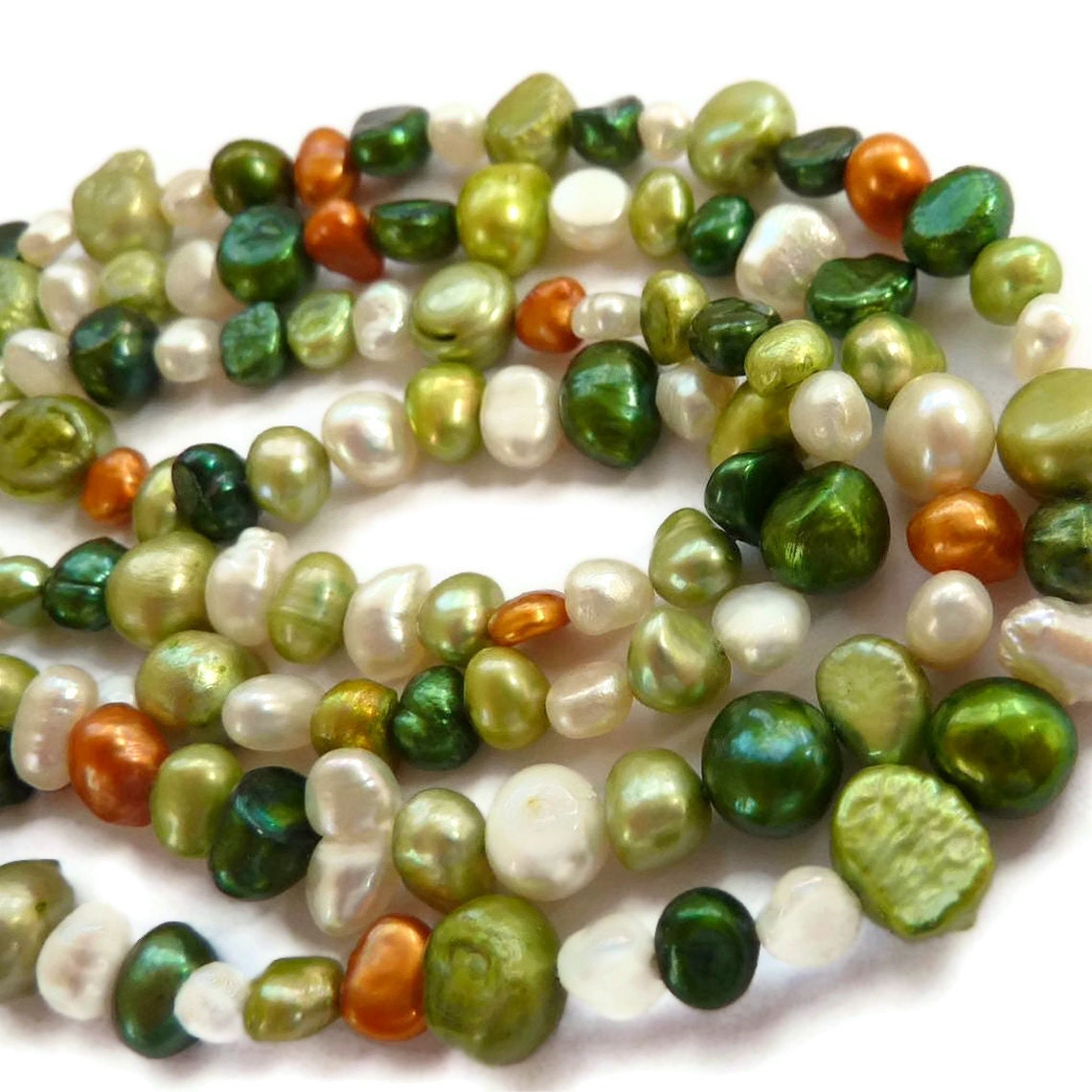 Freshwater Pearls Pearl Beads 5mm 6mm Dark Green, White, Orange, Light Green Color Pearl - PottyMouthGems