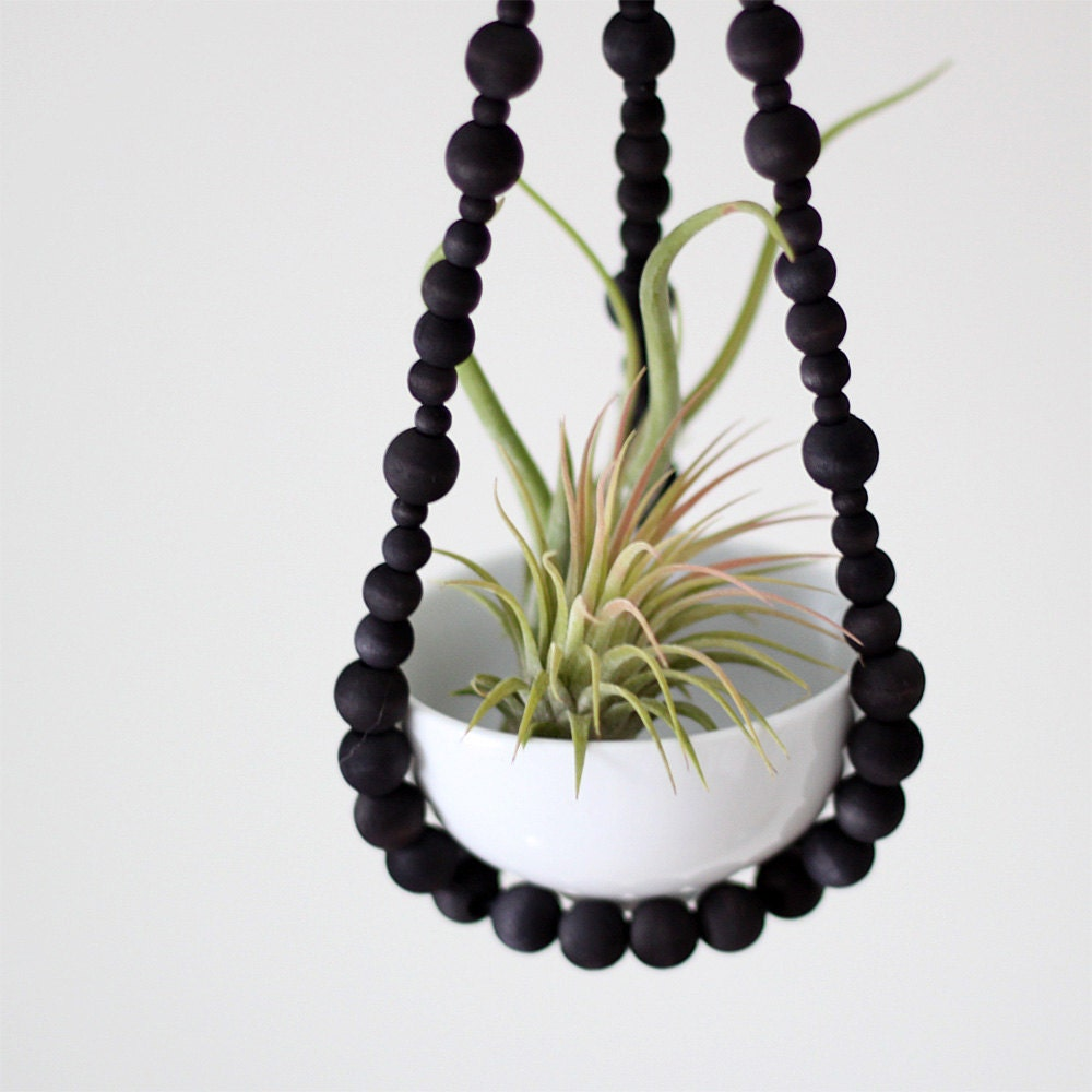 Small Beaded Hanging Planter with Cup / Scandinavian Modern Plant Holder / Hand Dyed Wood Beads