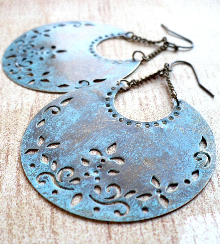 Blue Crescent Earrings