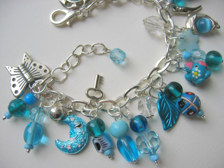 Chunky Aqua charm bracelet