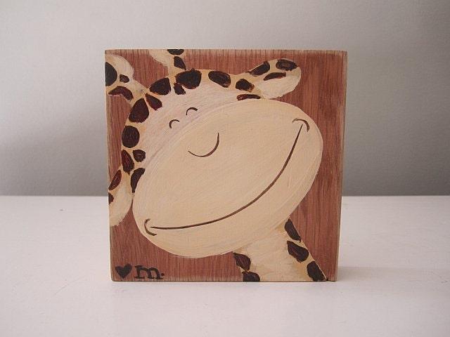 RESERVED Repurposed wood block Smiling Giraffe painting