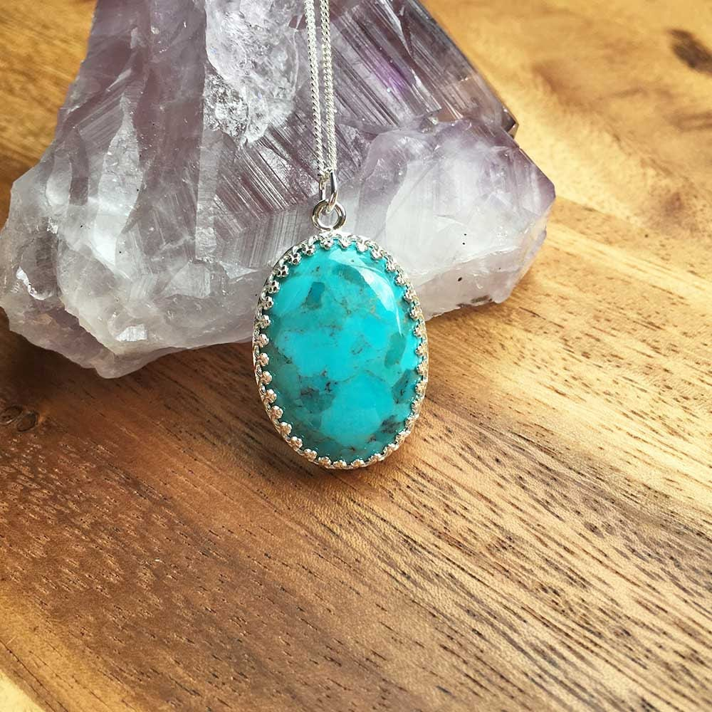Sterling Silver Turquoise Pendant Turquoise Necklace Turquoise Jewellery Gift For Her December Birthstone Handmade Jewellery STSP13
