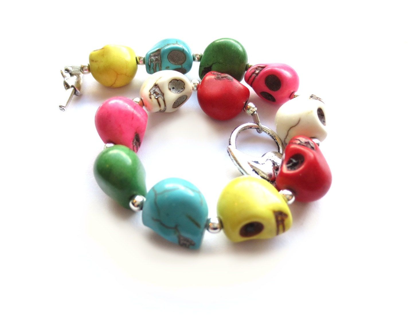 Multi-Colored Skull Bracelet with Antique Silver Toggle Clasp