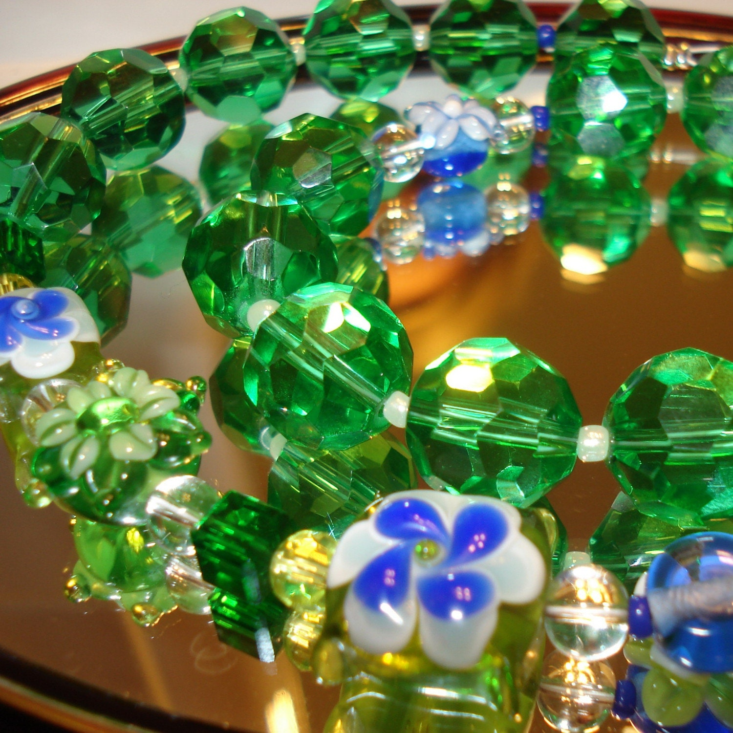 When Spring comes.... Green and blue crystal necklace