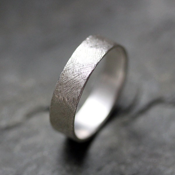 Textured Wedding Band Ring Recycled Sterling By Metalicious