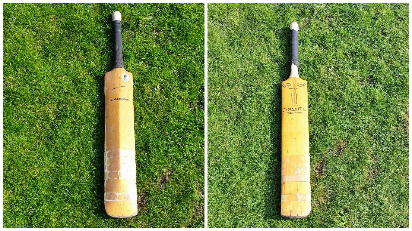 Cricket Bat by Gunn and Moore Vintage Polympic Short Handle Treble Spring Hand Made England Willow Gum Wooden Bat English Summer Sport