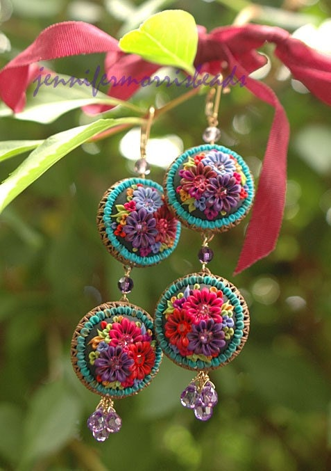 la cansion flores - long festive mexican embroidery earrings