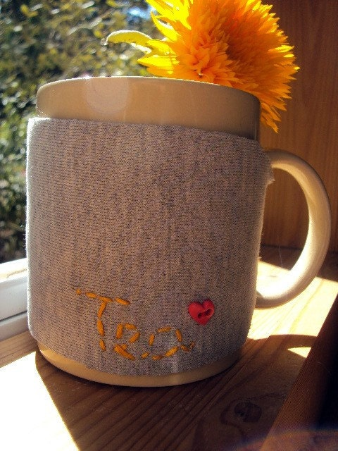 I Love Tea. Sweatshirt Embroidered Upcycled Cozy. Eco Friendly.