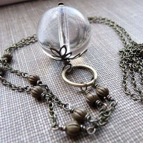 crystal ball - clear vintage glass and brass necklace