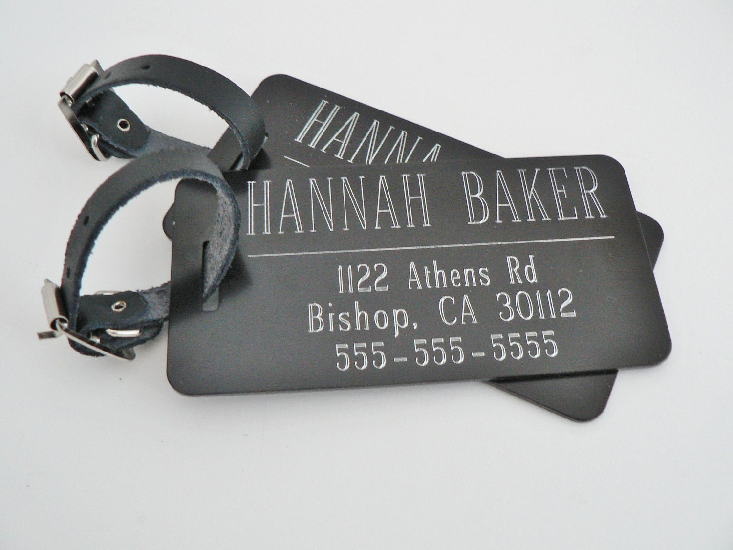 Black Custom Luggage Tags Set Of Two By Netexchange On Etsy