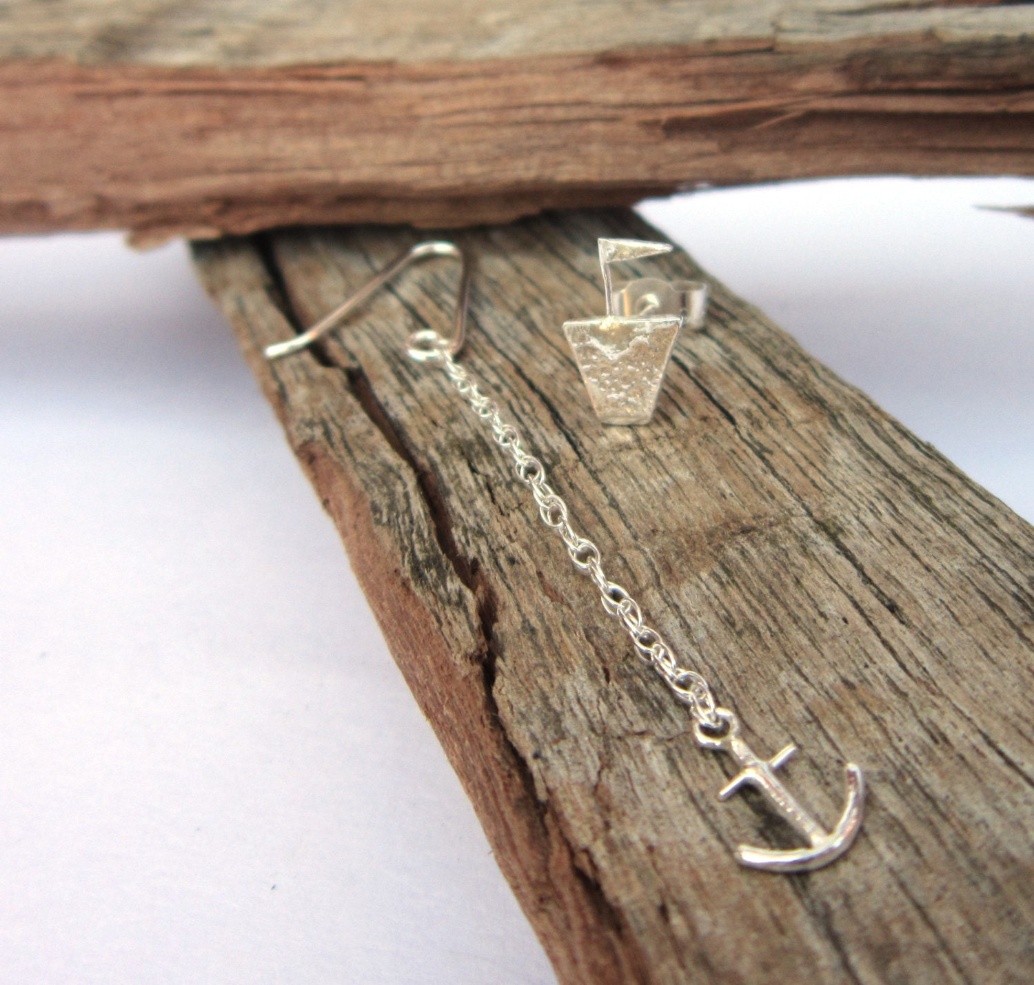Boat Anchor Earrings Rope Chain Lost at Sea Drop Dangle Handmade Silver Mismatched Stud UK