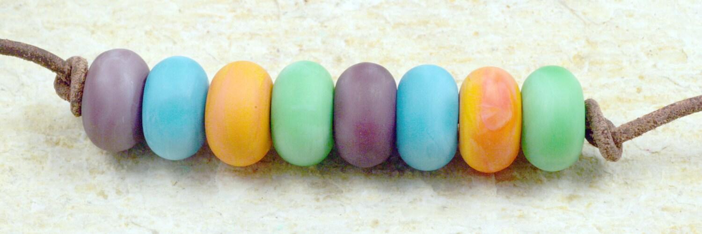 Spring Pastels Handmade Glass Lampwork Beads (8 Count) by Pink Beach Studios SRA (DO22) - pinkbeach