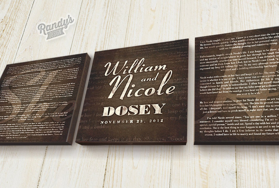 Personalized, Wedding or Anniversary Gift, Canvas Art, Wedding Vows ...