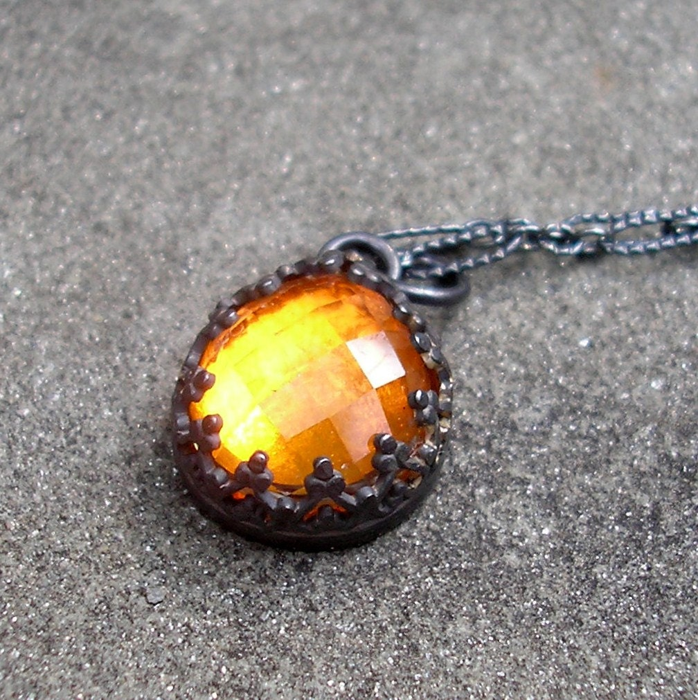orange topaz necklace sterling silver filigree bezel by