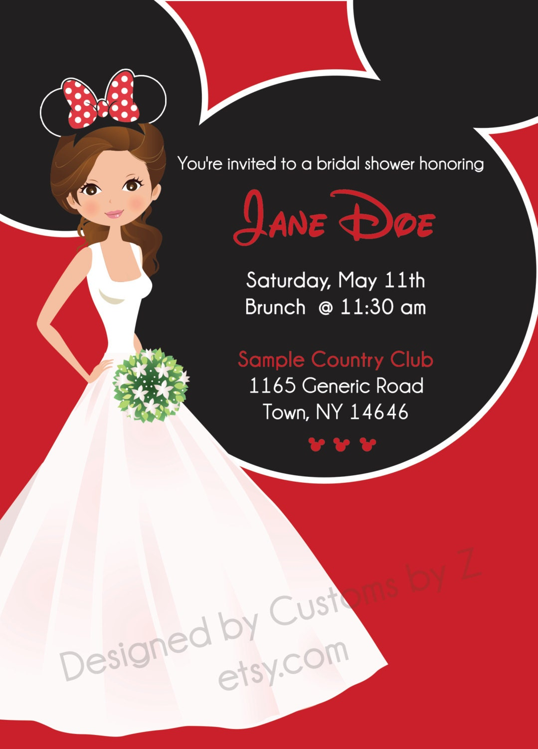 ... Mouse Theme Bridal Shower Invitation - Front and Back Disney Inspired