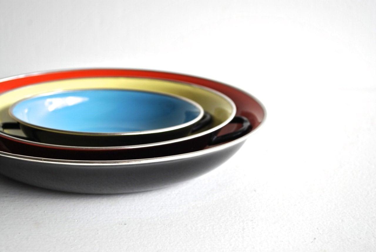 Mid Century Enamel Pans - Vintage Cooking Pans - charliesnest