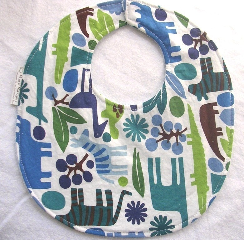 2D Zoo in Blue - Boutique Bib - terry cloth backing with snag-free Velcro closure