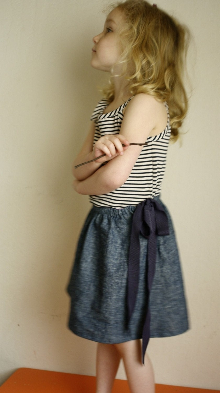 indigo skirt with ribbon tie