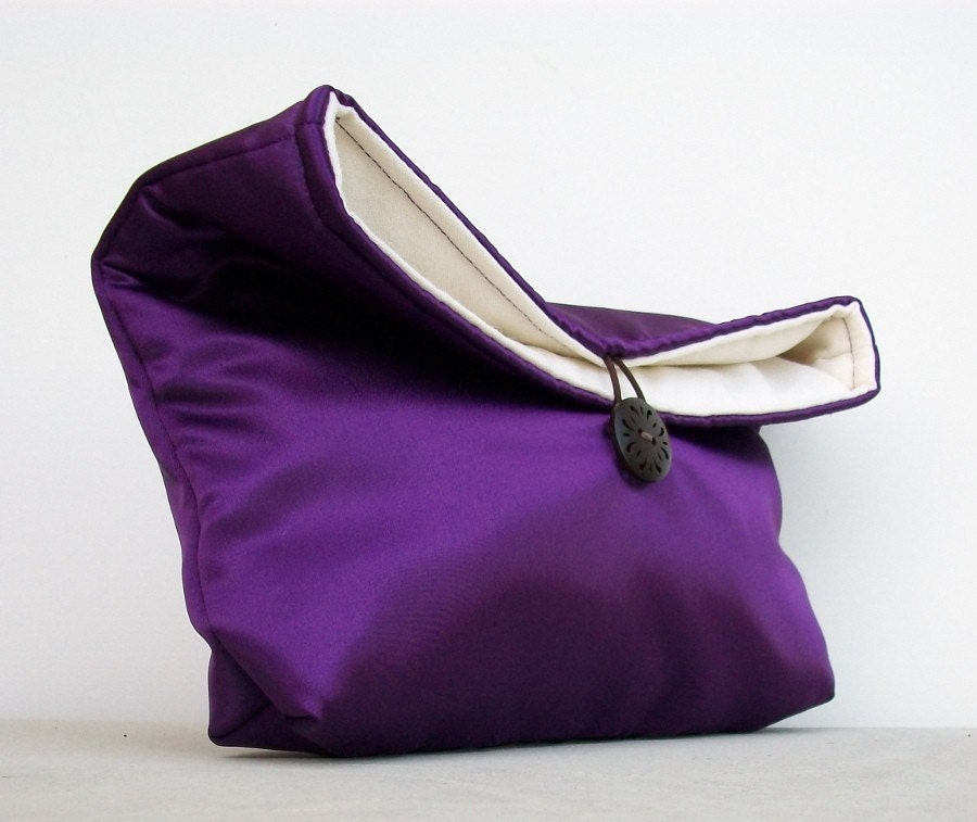 Foldover Clutch in Purple Satin