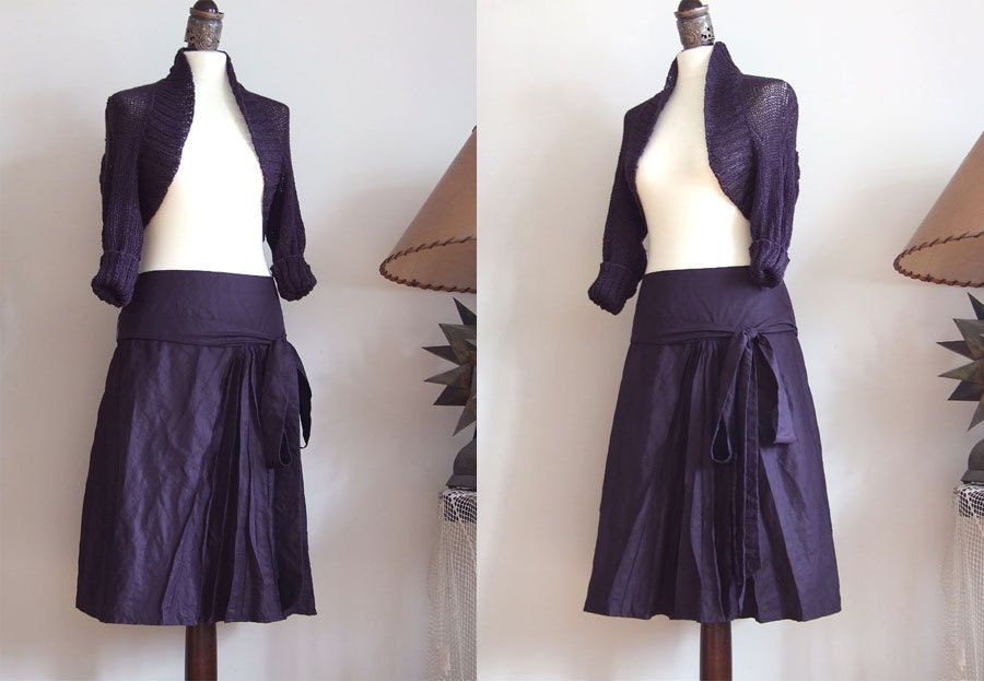 Blueberry SKIRT  with PLEATED side and with a bow