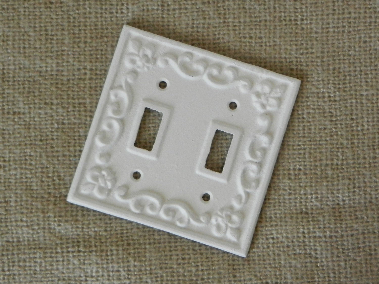 White cast iron light switch cover double by juxtapositionsc