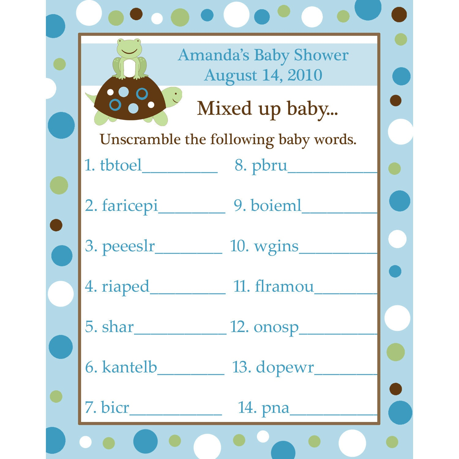 24 Personalized Word Scramble Baby Shower Game Cards - Turtle and Frog ...