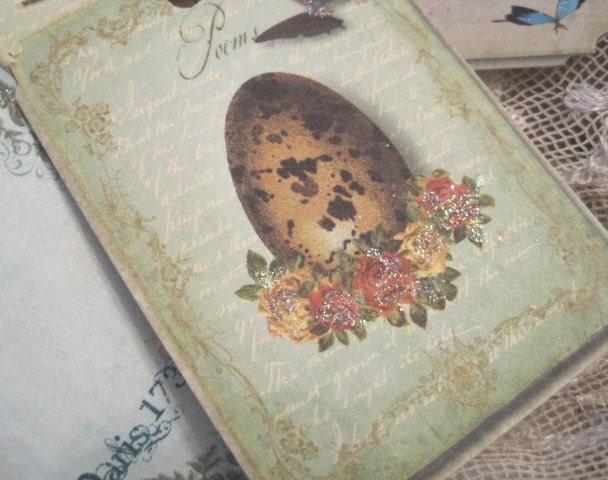 SET OF 9 - Enchanting Vintage French Bird Themed Gift Tags - Parisian - Bird Cage - Nests - Eggs - Butterflies - Glitter - Crinkled Seam Binding - Buy Three Get One Free