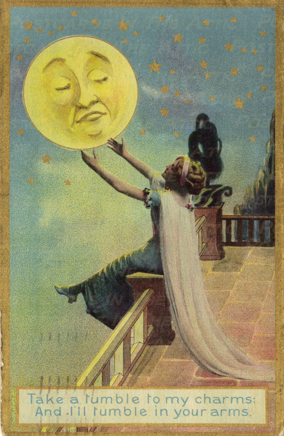 Romantic Woman Swooning over Moon Take a by ...