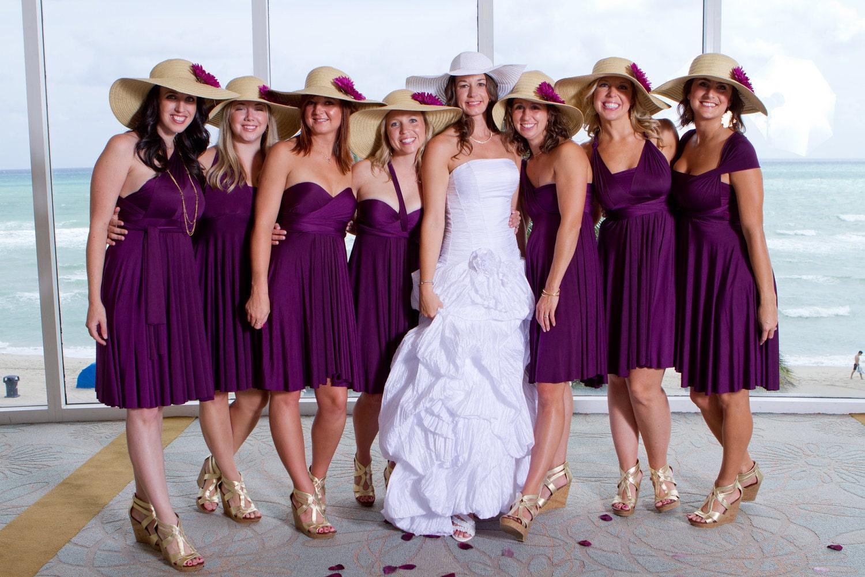 Navy bridesmaid dresses and gray