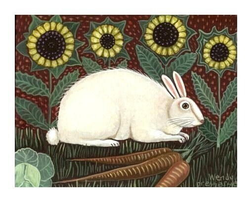 WHITE RABBIT Garden Bunny FOLK ART PRINT Artist Signed EASTER