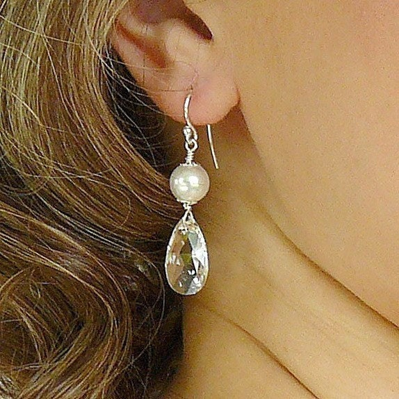 Earrings, Bridal Wedding. White Pearl Crystal Teardrop Long Dangle Drop Sparkle Beaded Old Hollywood Glamour Jewellery for the Bride or your Bridesmaids by somethingjeweled on Etsy