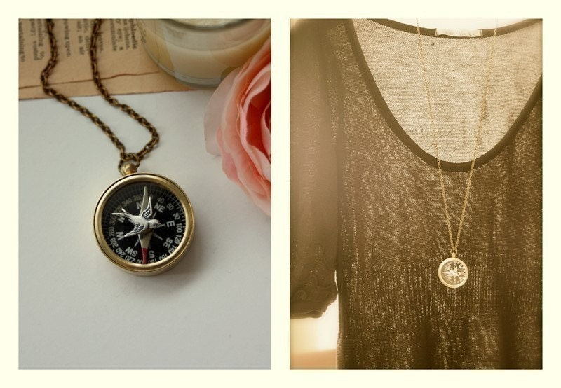 Navigating Home - A Flying Swallow, Vintage Brass Compass Long Necklace - Cute, whimsical unique - Great Gift Ideas.