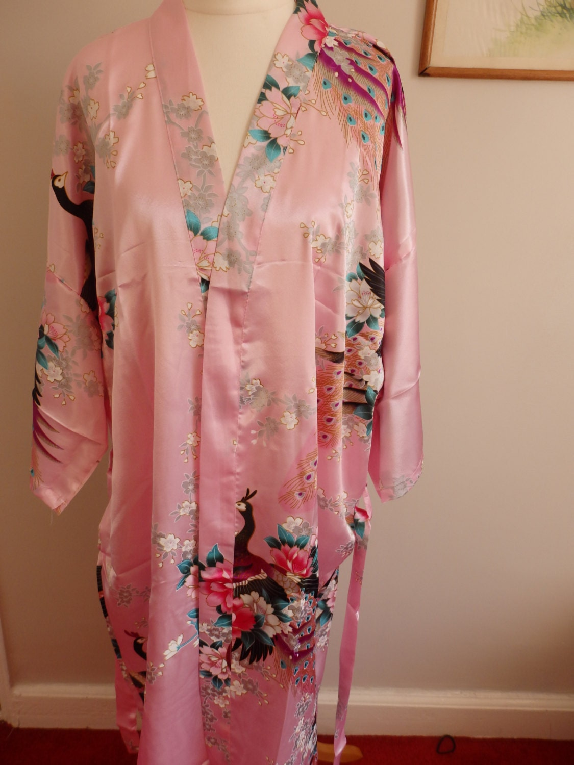 Light pink Chinese dressing gown robe style Japanese kimono peacock wedding pajama