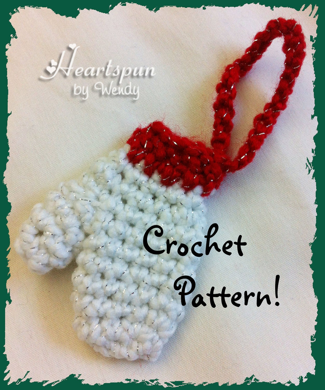 ... Mitten Christmas Ornament or money holder CROCHET PATTERN, PDF Format