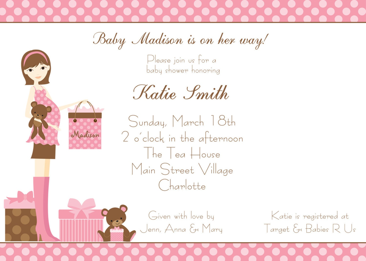 Baby shower invitation baby girl shower by TheButterflyPress