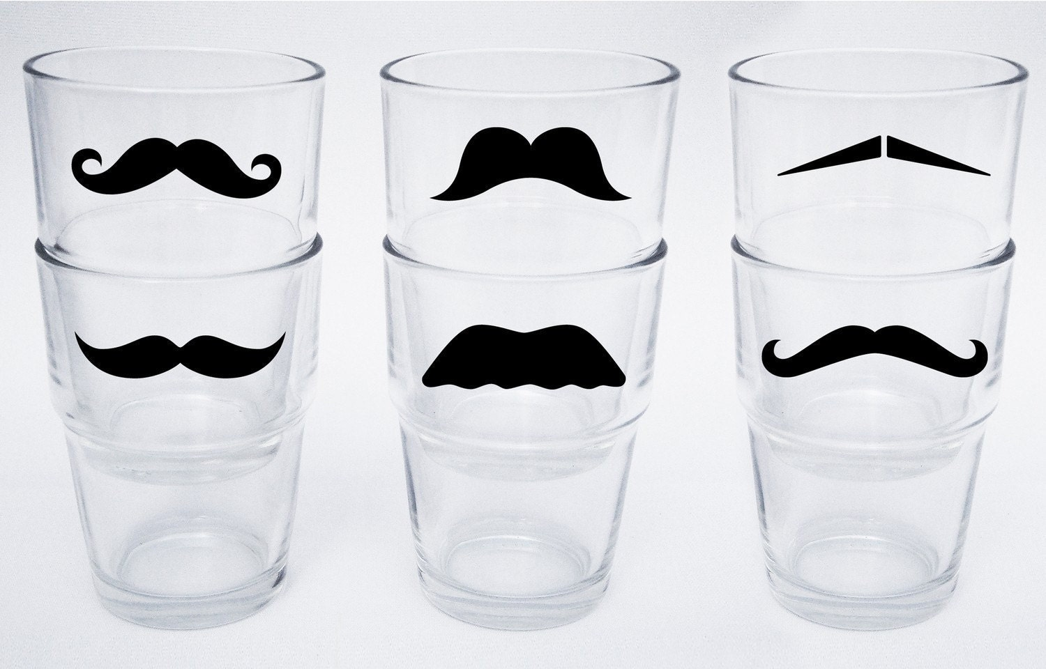 Mini Moustache Stackable Glasses - Variety of Colors and Styles (set of 6)